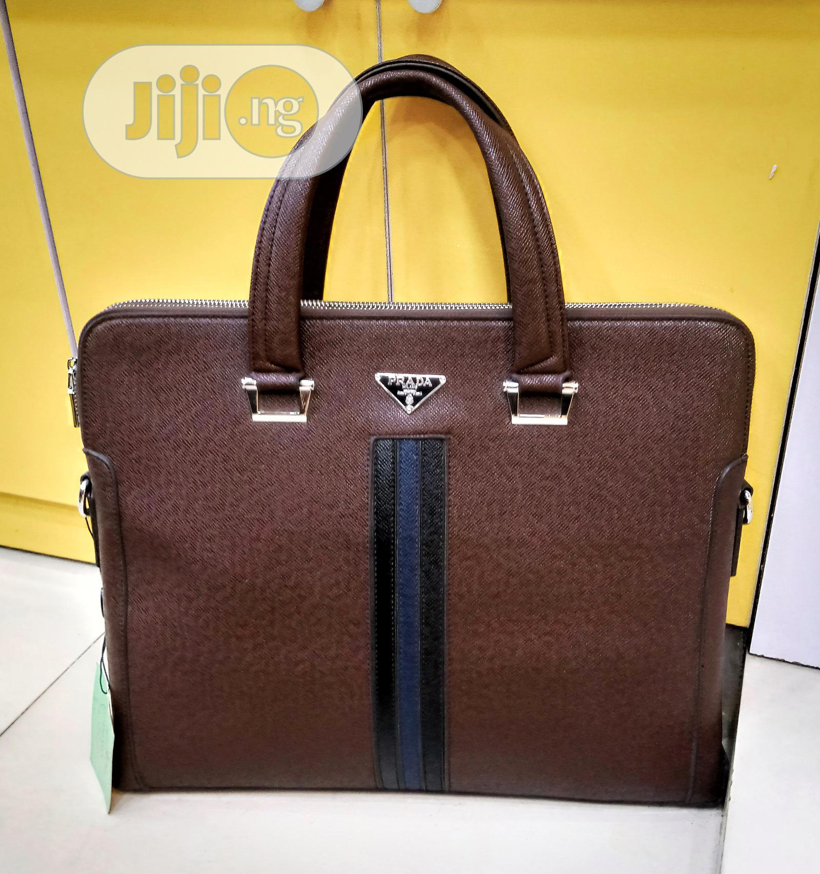 Brown Leather Prada Designer Mens Handbag