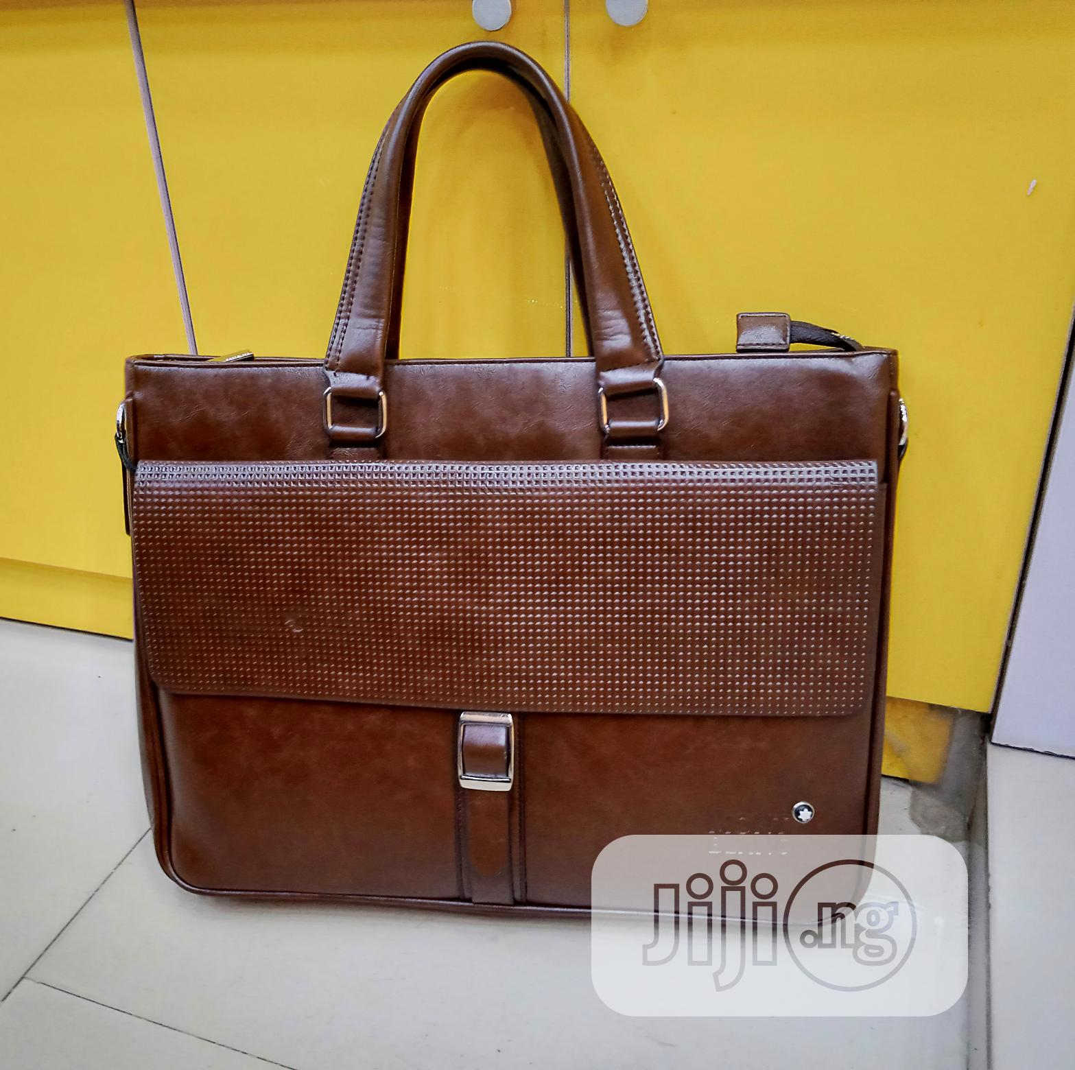 17 Inch Brown Leather Mont Blanc Mens Laptop Bag
