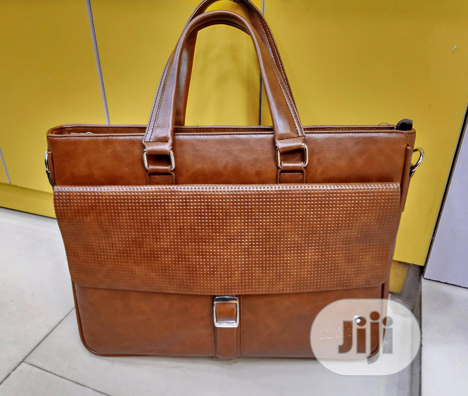 17 Inch Brown Leather Mont Blanc Mens Laptop Bag | Bags for sale in Lagos Island, Lagos State, Nigeria
