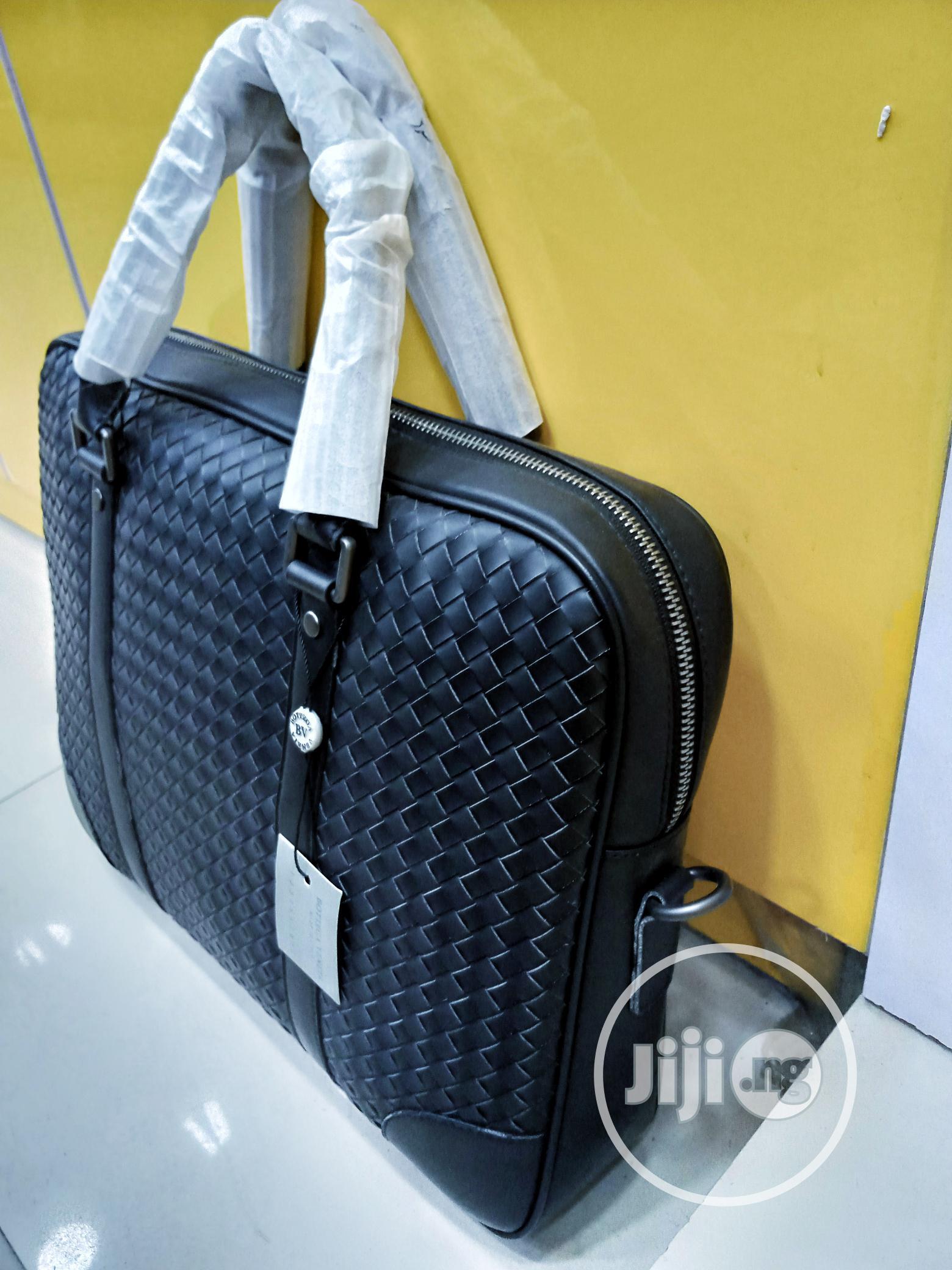 Black Leather Mens Laptop Bag