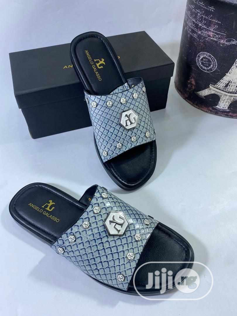 Angelo Galasso Designer Leather Slippers for Men | Shoes for sale in Magodo, Lagos State, Nigeria