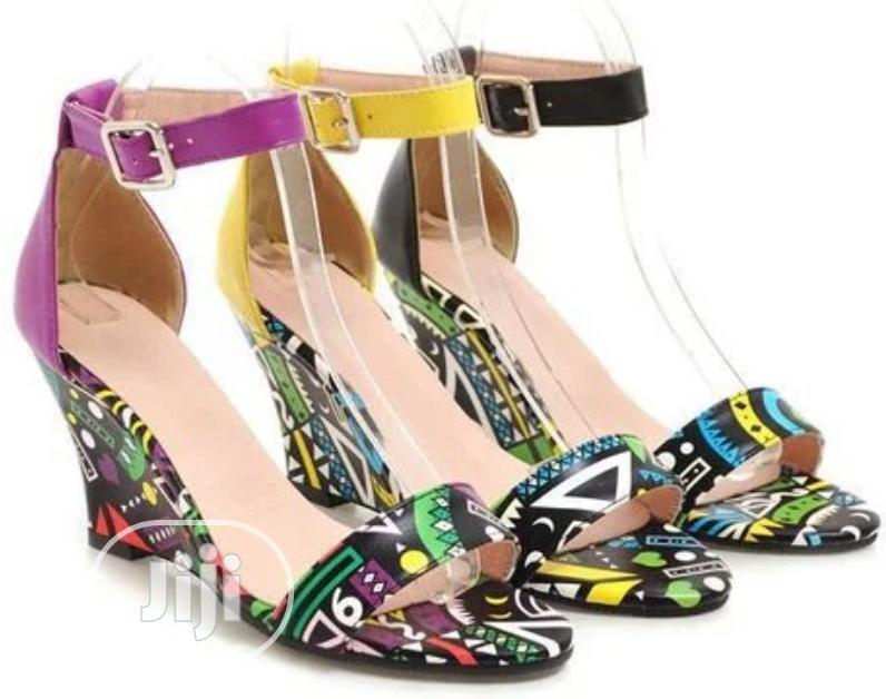 Summer 2020 Sandals Low-top Graffiti Open-toe Print Wedge Heel