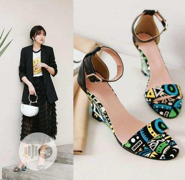 Summer 2020 Sandals Low-top Graffiti Open-toe Print Wedge Heel | Shoes for sale in Ikeja, Lagos State, Nigeria