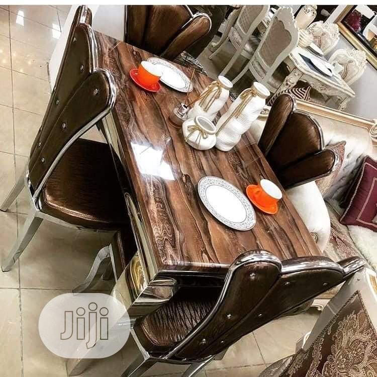 High Quality Turkey Marble Dining Table Set by 4seater | Furniture for sale in Ojo, Lagos State, Nigeria