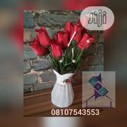 White Table Vase With Red Flower | Home Accessories for sale in Osun State, Osogbo