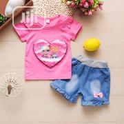 Girls 2pcs Lovely Top and Denim Short Clothing Set | Children's Clothing for sale in Lagos State, Agboyi/Ketu
