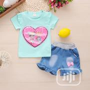 Girls 2pcs Lovely Top With Denim Short | Children's Clothing for sale in Lagos State, Agboyi/Ketu