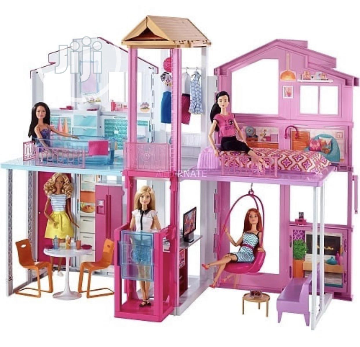 Barbie Three Story House With Pop-up Umbrella | Toys for sale in Ajah, Lagos State, Nigeria