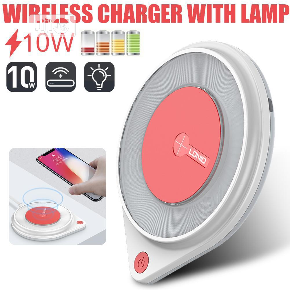 LDNIO AW001 10W Fast Wireless Charger Charging Pad Built-in Bedside | Accessories for Mobile Phones & Tablets for sale in Ikeja, Lagos State, Nigeria