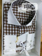 Brown & White Combination Square Check Turkey Shirts By Satoriasa | Clothing for sale in Lagos State, Lagos Island