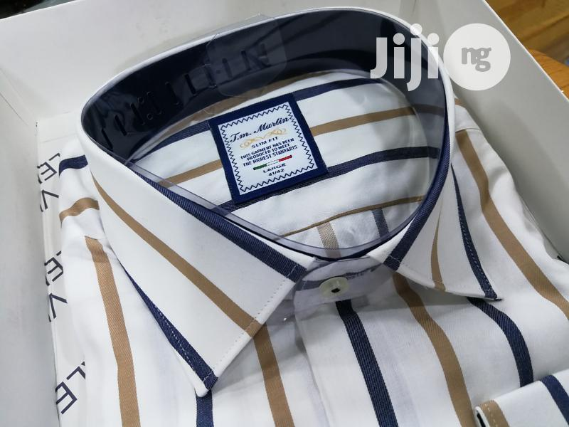 Brown&White Classic Stripes Shirts By TM Martin | Clothing for sale in Lagos Island, Lagos State, Nigeria