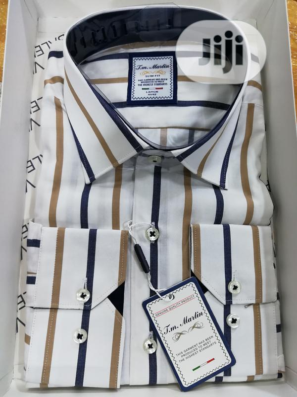 Brown&White Classic Stripes Shirts By TM Martin