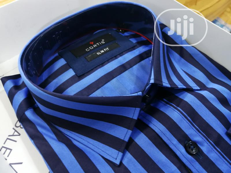 Archive: Royal Blue Stripes Pure Cotton Shirts by Cortis