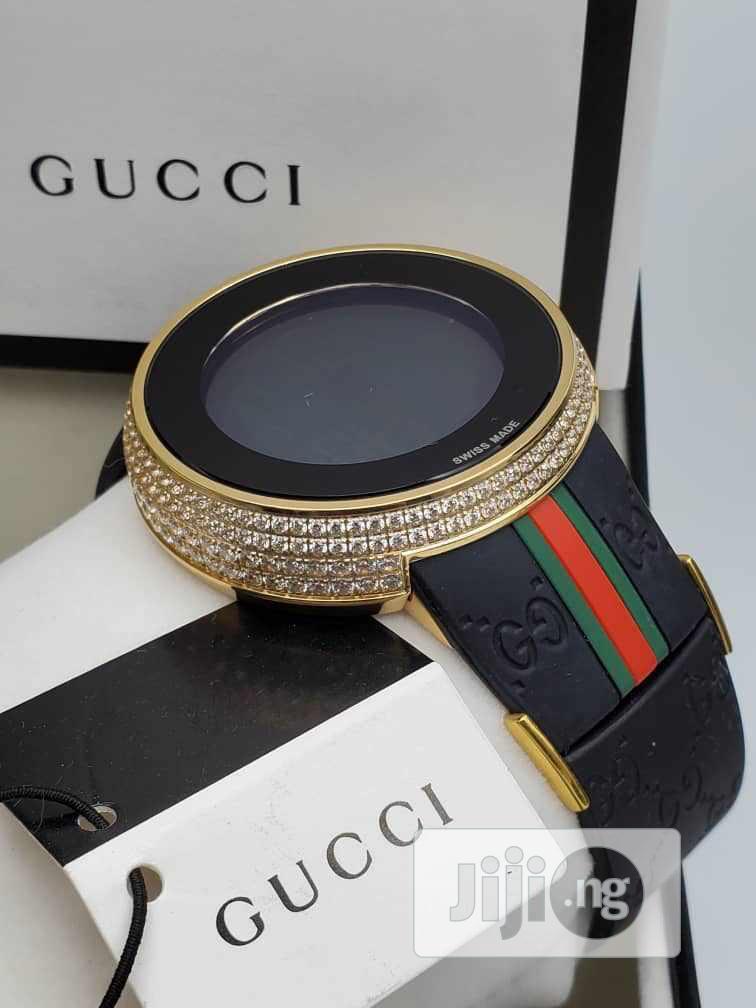 Gucci Digital Ice Head Gold Rubber Strap Watch