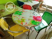 Quality Round Restaurant Glass Table With Three Chairs | Furniture for sale in Lagos State, Yaba
