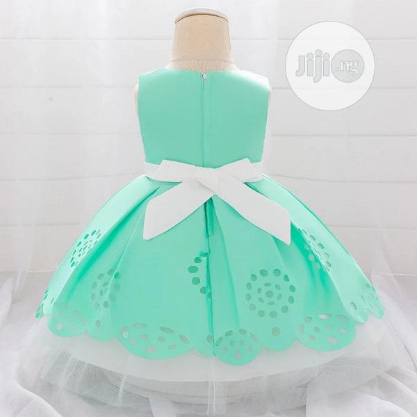 Baby Girl Pleated Ball Party Dress -Green/White 9-12mths | Children's Clothing for sale in Surulere, Lagos State, Nigeria