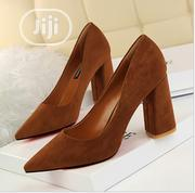 Suede Brown Block Heel Pumps | Shoes for sale in Osun State, Ilesa