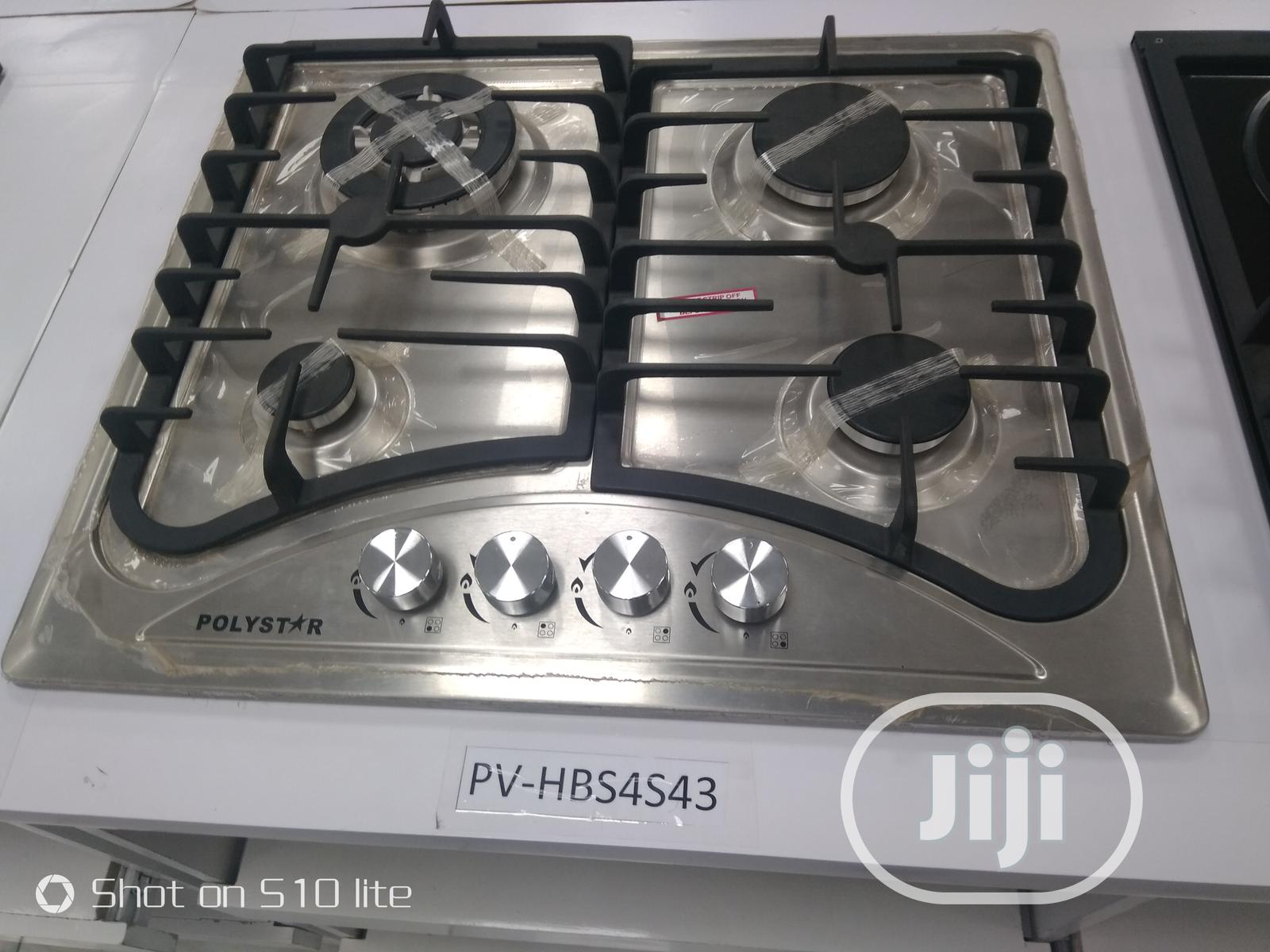 Polystar Table Top 4 Burners In-Built Gas Hob PV-HBS4543   Kitchen Appliances for sale in Ikeja, Lagos State, Nigeria