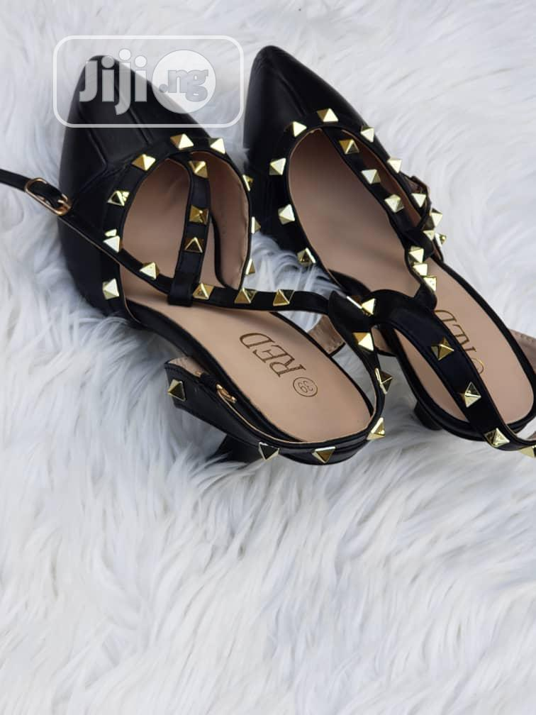 Studded Black Court Shoes for Ladies