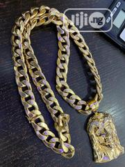 18karat Cuban Chain With Jesus Pics Pendant Is Available | Jewelry for sale in Lagos State, Yaba