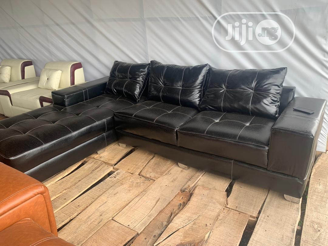Black Leather L Shape