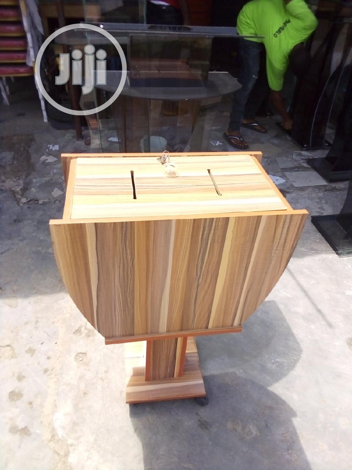 Offering Box Made Of Foreign Wood, Demacated For Offerings And Tithes