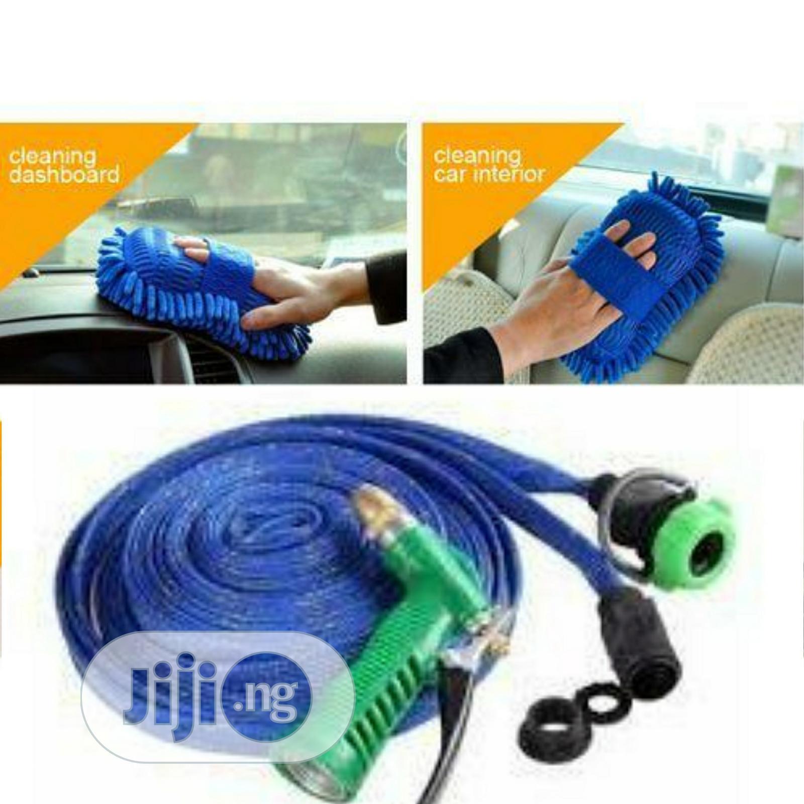Car Wash Hose And Spray Gun And Sponge