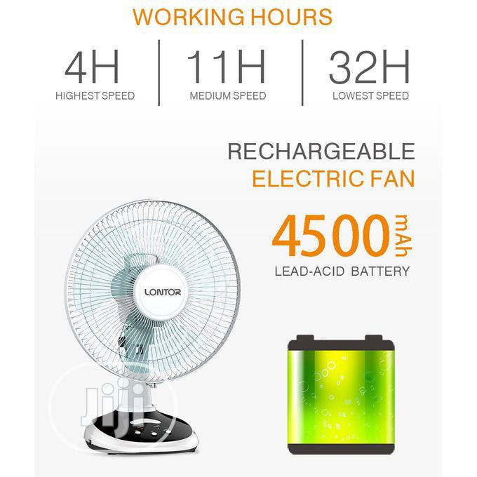 Lontor Rechargeable Table Fan - 12 Inches