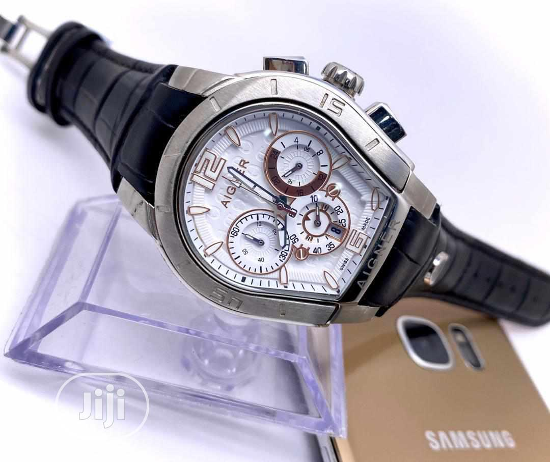 Aigner Chronograph Silver Leather Strap Watch