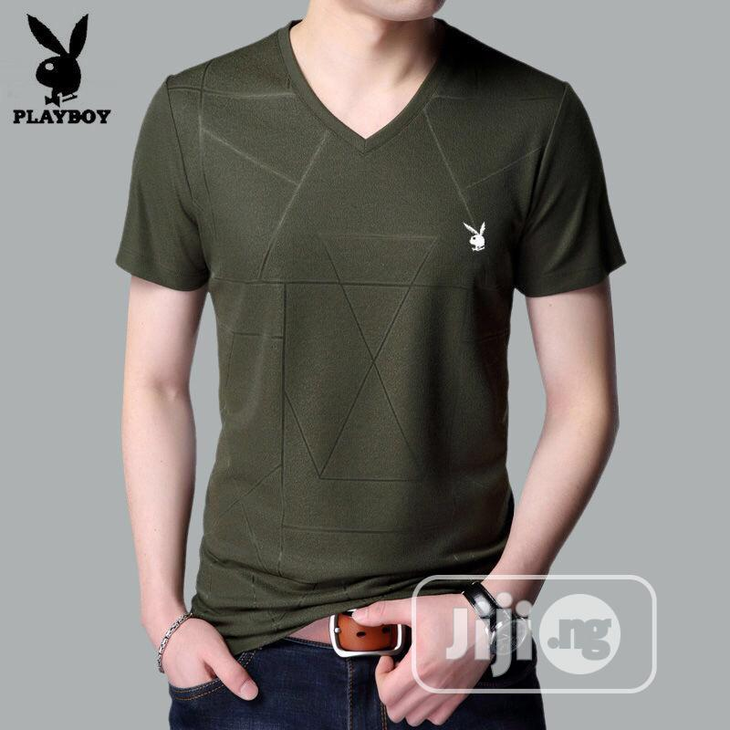 Men VIP Playboy Fashion V-neck T-shirts