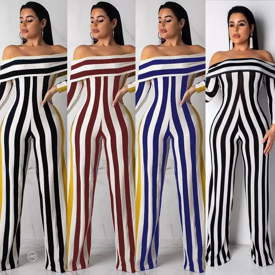 Striped Off Shoulder Jumpsuit | Clothing for sale in Port-Harcourt, Rivers State, Nigeria