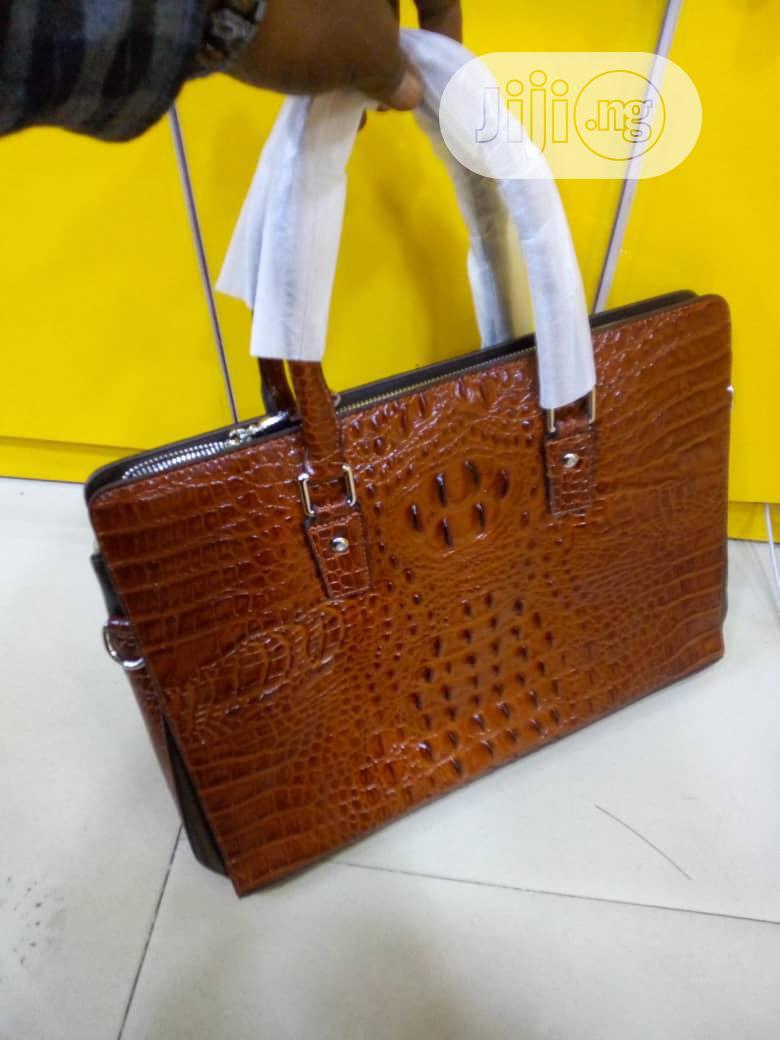 Brown Crocodile Skin Leather Mens Handbag for Laptop