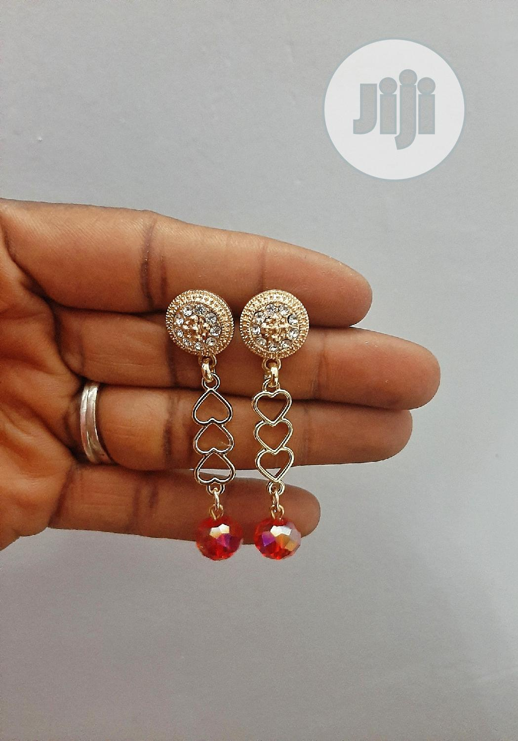 Archive: Drop Down Earrings With Red Crystal Bead