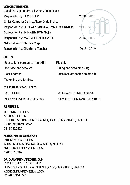 Clerical Administrative CV | Clerical & Administrative CVs for sale in Gwagwalada, Abuja (FCT) State, Nigeria