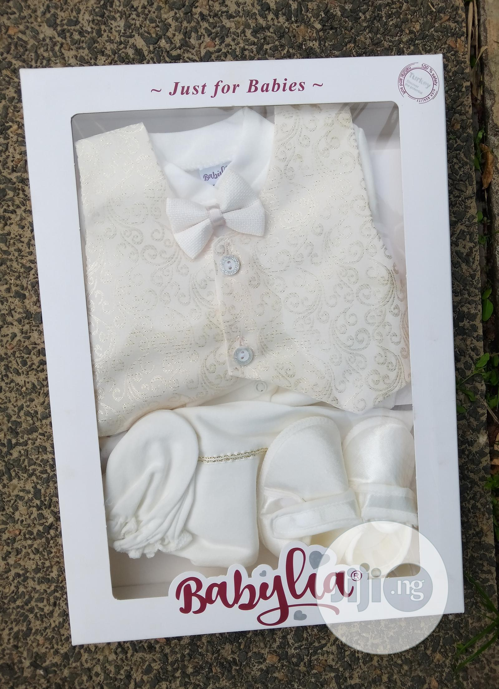 Archive: Beautiful 4 Piece Ivory Baby Boxed Christening Cloth