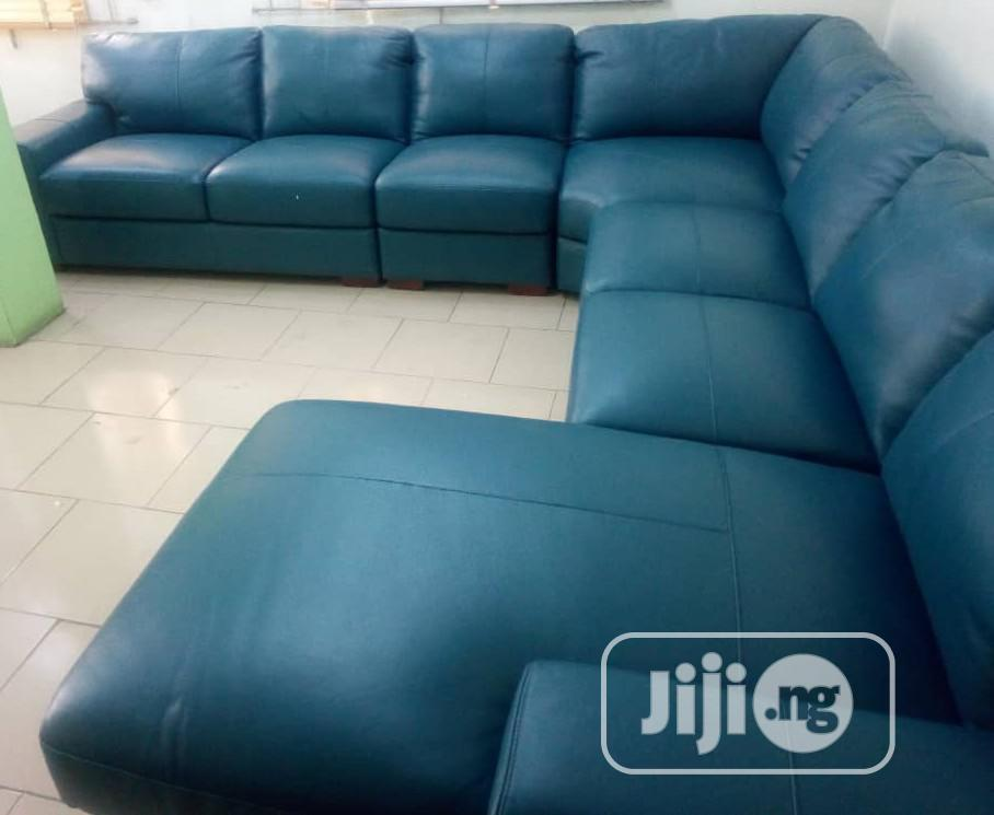 Superb Pure Italian Leather L Shape Sofa Chair Brand New Imported
