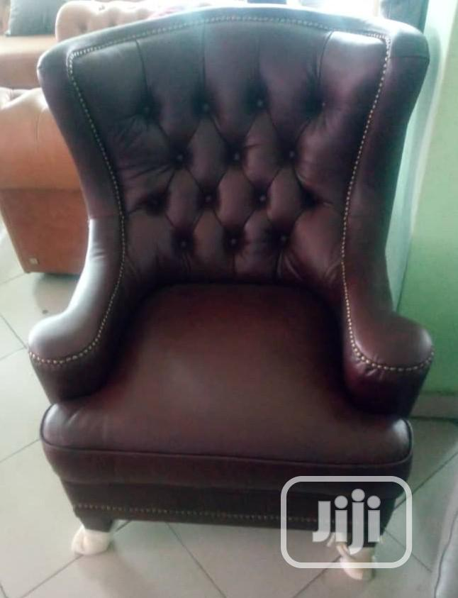 Superb Pure Single Royal Italian Leather Sofa Chair Imported