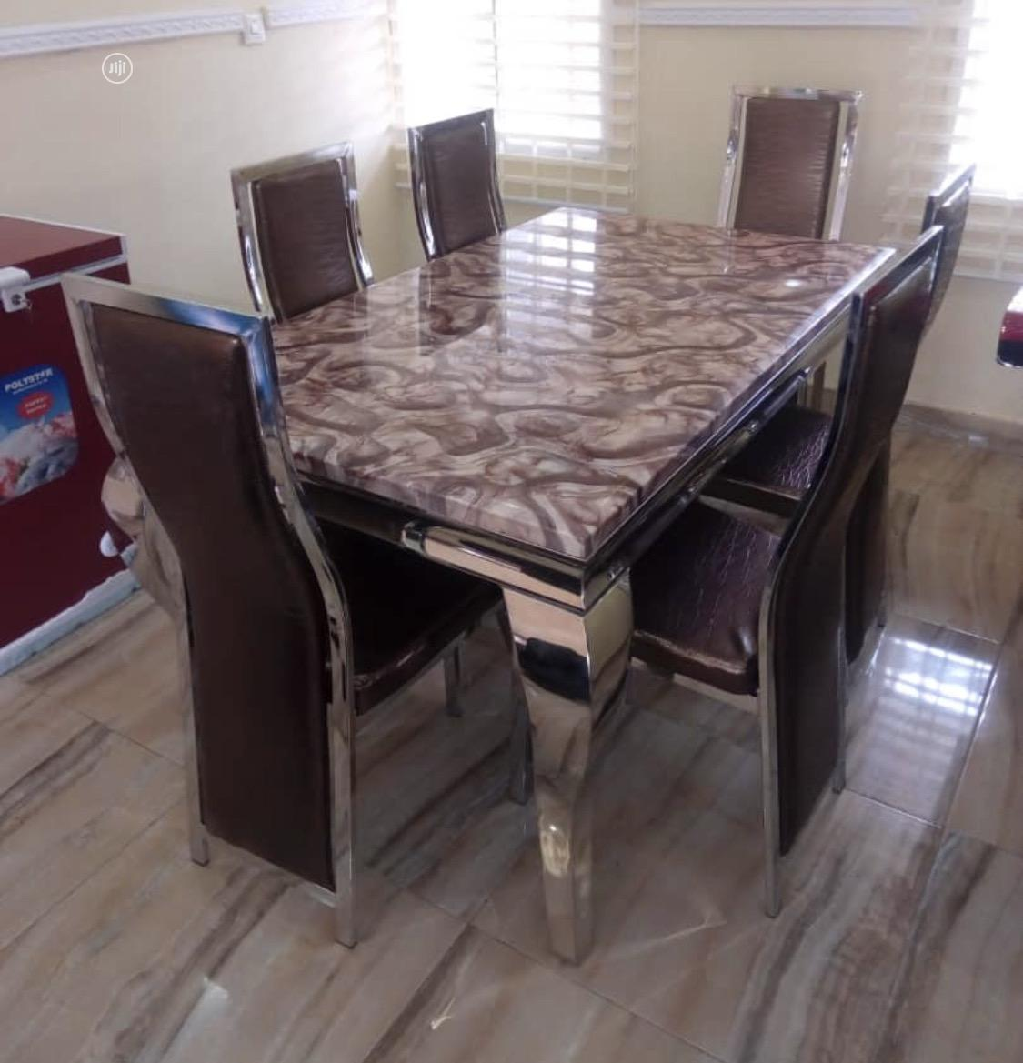Six Seaters Marble Dining Set