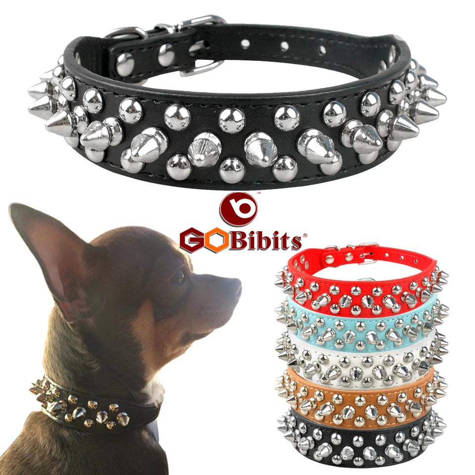 Spiked Rivet Studded PU Leather Dog Collar