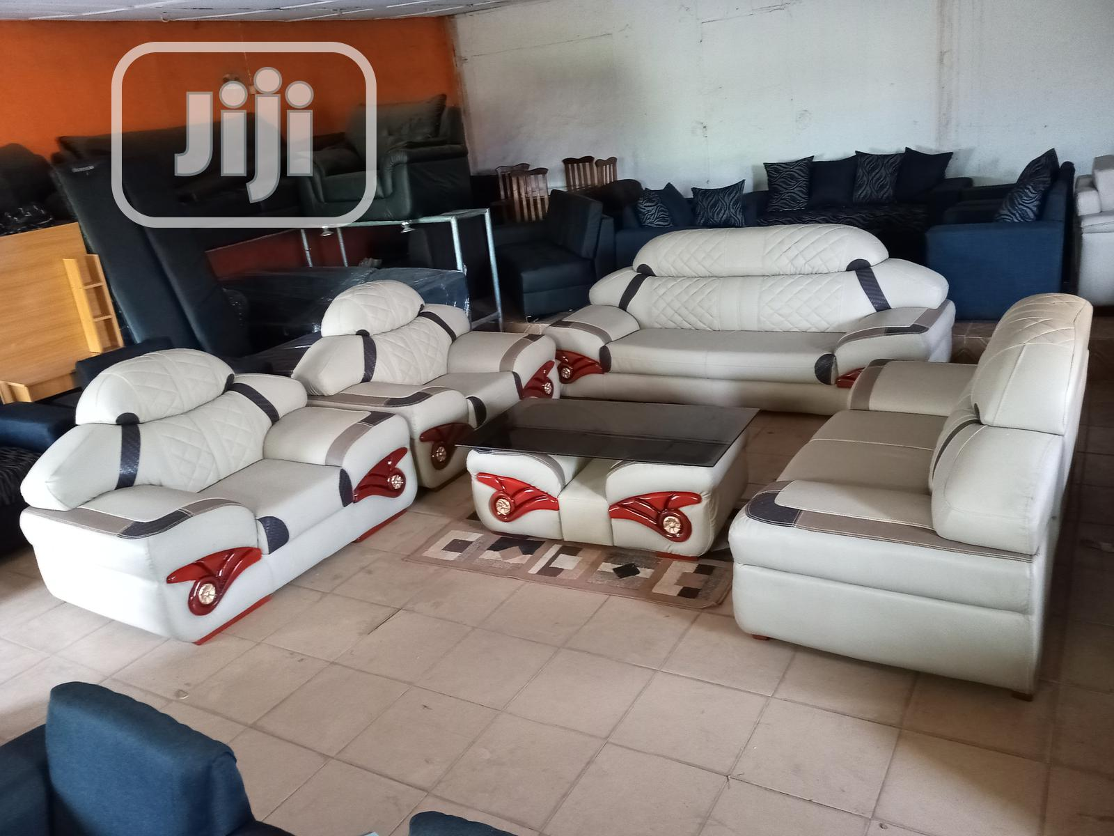 Executive Sofa Chairs With Table. 7 Seaters Leather Couch