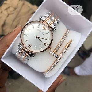 Emporio Armani Rose Gold/Silver Chain Watch and Bangle for Women's   Watches for sale in Lagos State, Lagos Island (Eko)