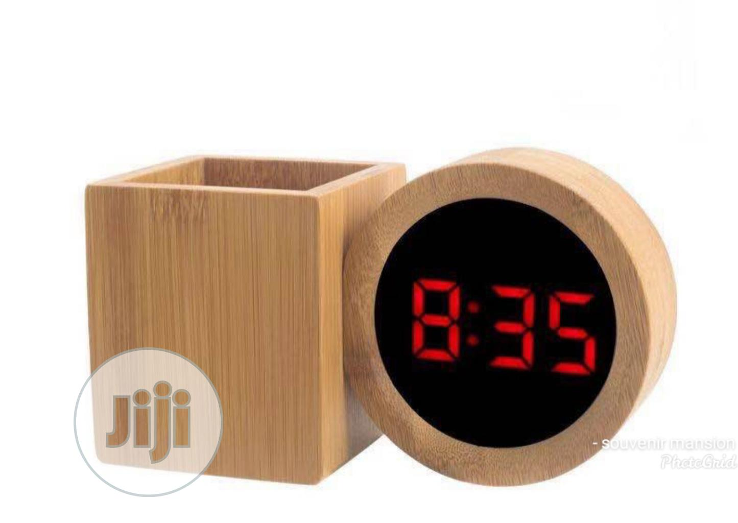 Wooden Led Alarm Clock With Pen Holder