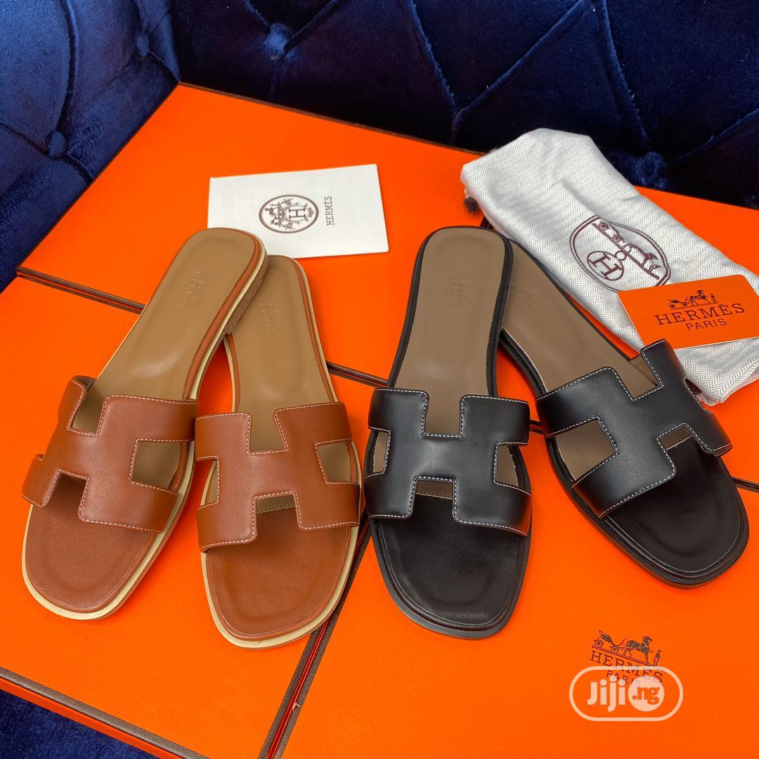 Brown Hermes Slipper for Ladies | Shoes for sale in Magodo, Lagos State, Nigeria