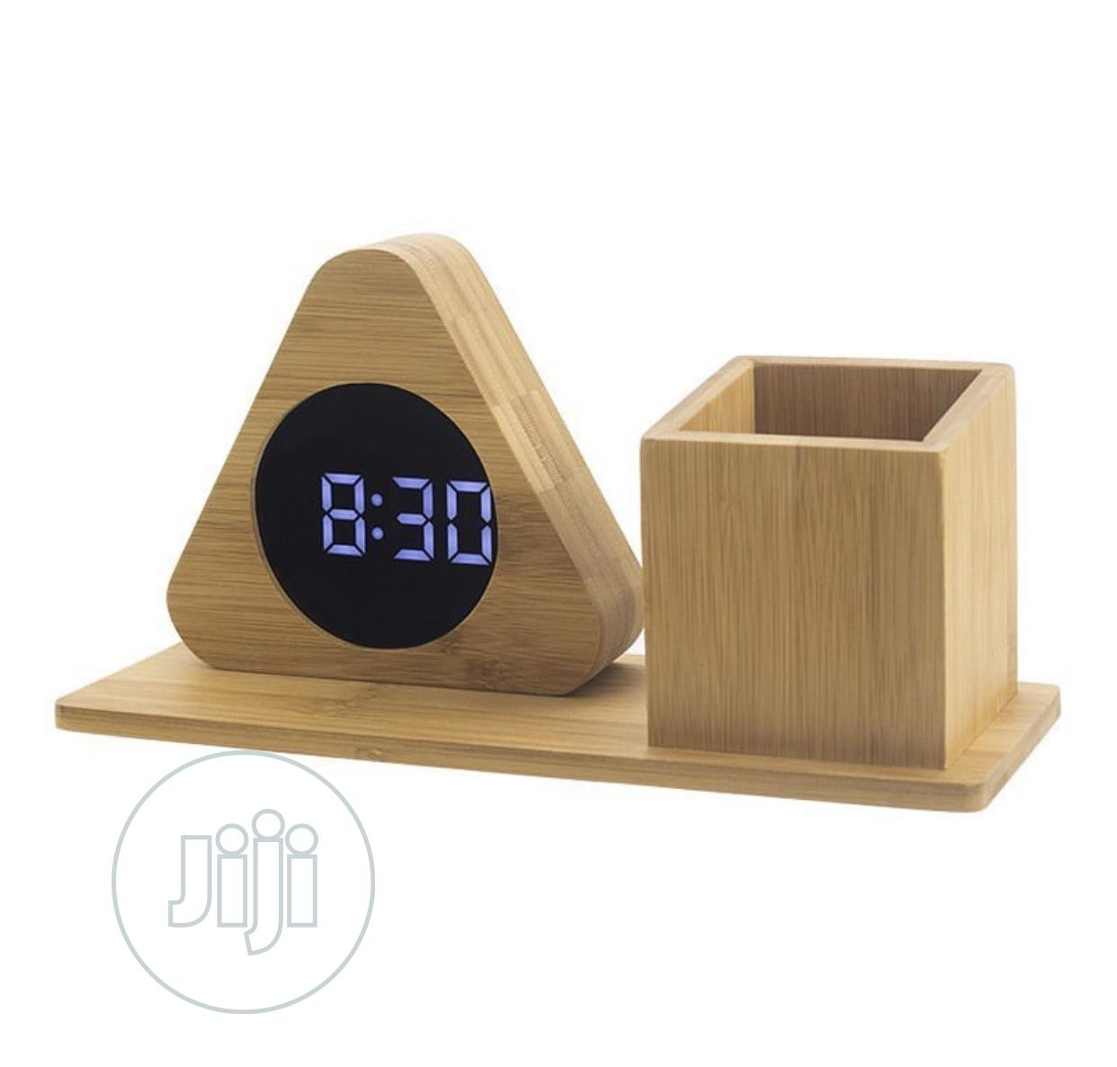 Wooden Clock With Pen Stand