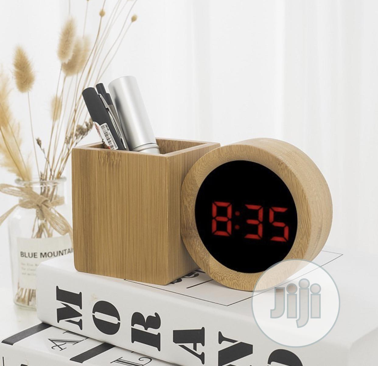 Wooden Clock With Pen Stand | Home Accessories for sale in Lagos Island, Lagos State, Nigeria