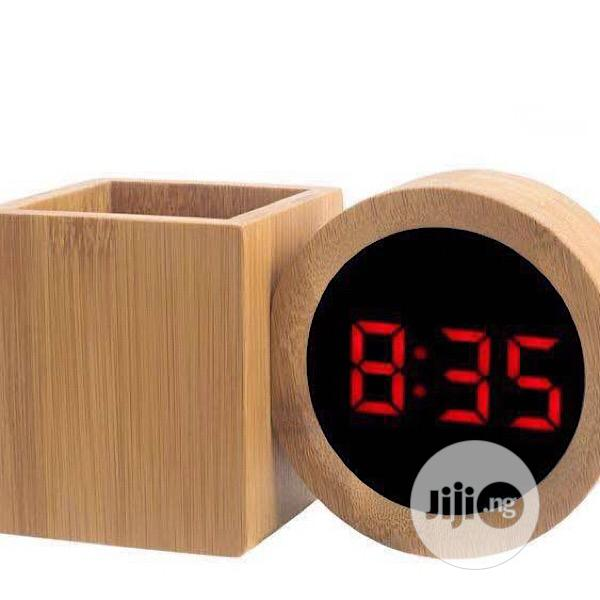 Archive: Table Wooden Digital Clock With Penholder