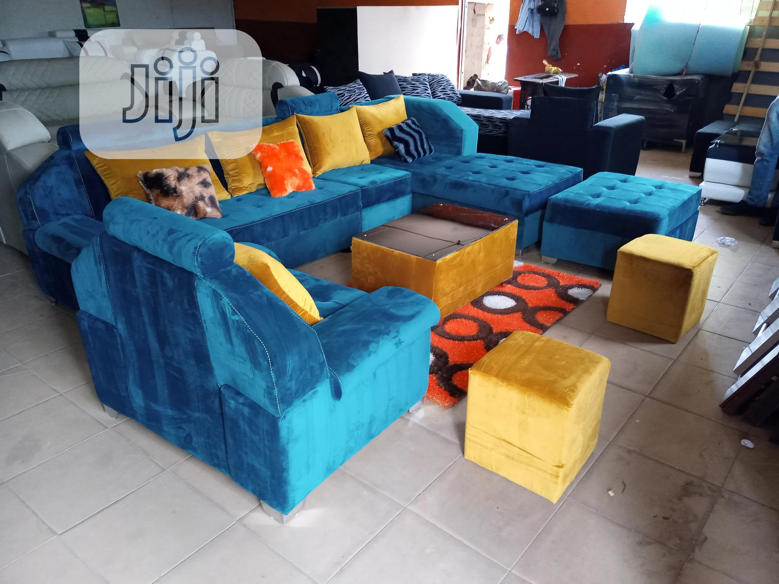Set of L-Shaped Sofa With Armless and Armed Single Chair