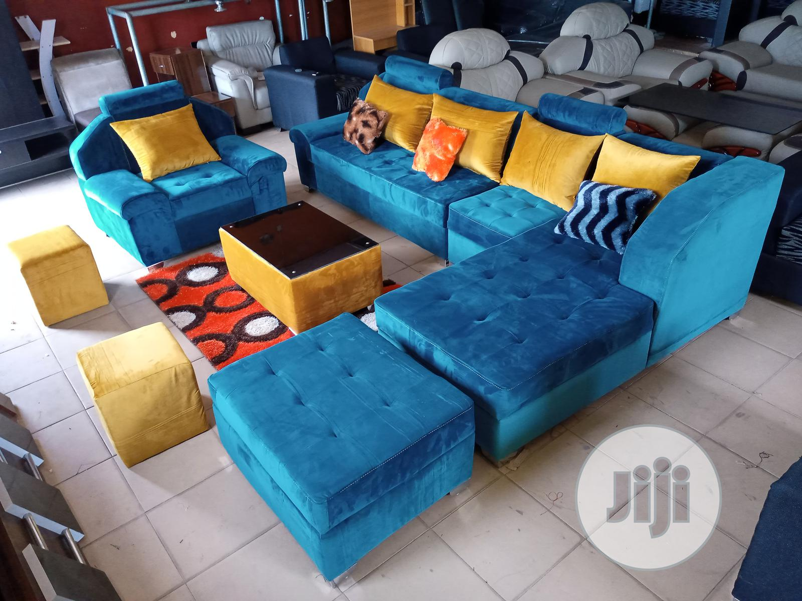 Set of L-Shaped Sofa With Armless and Armed Single Chair | Furniture for sale in Ikeja, Lagos State, Nigeria