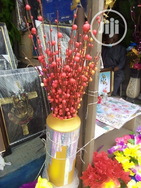 Unique Golden Design 28 Inches Flower Vase With Flowers