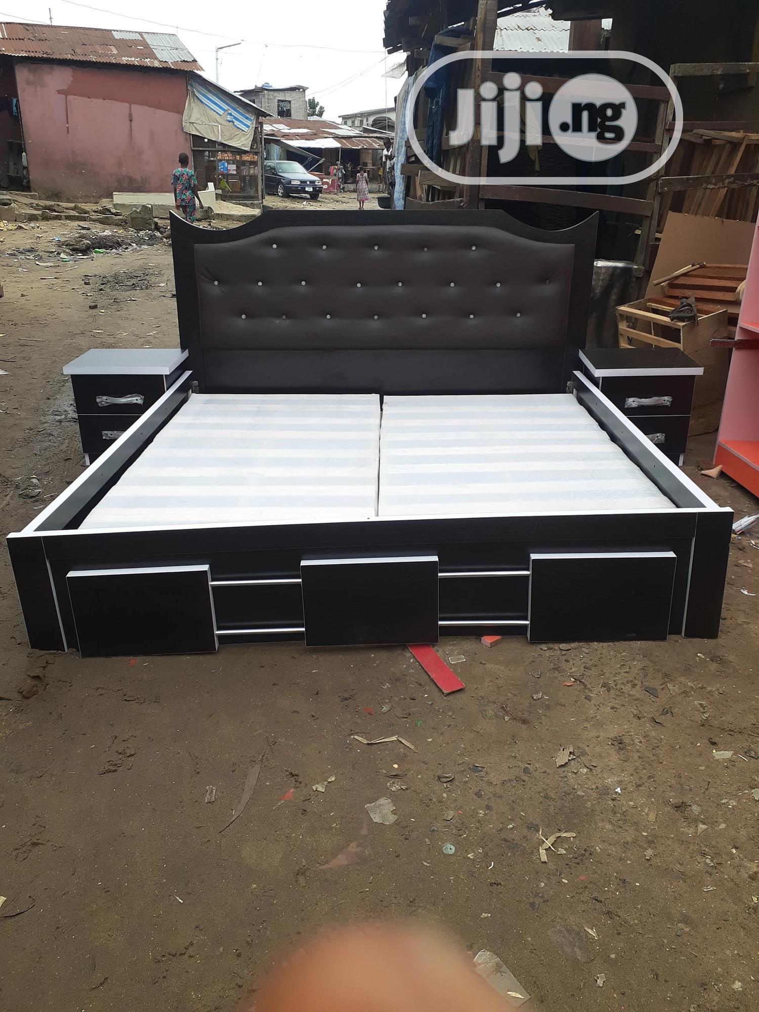 6by6 Bed Frame With Double Side Drawer | Furniture for sale in Ojo, Lagos State, Nigeria